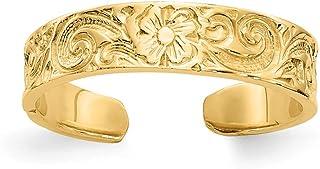 14K Yellow Gold Flower/Scroll Toe Ring