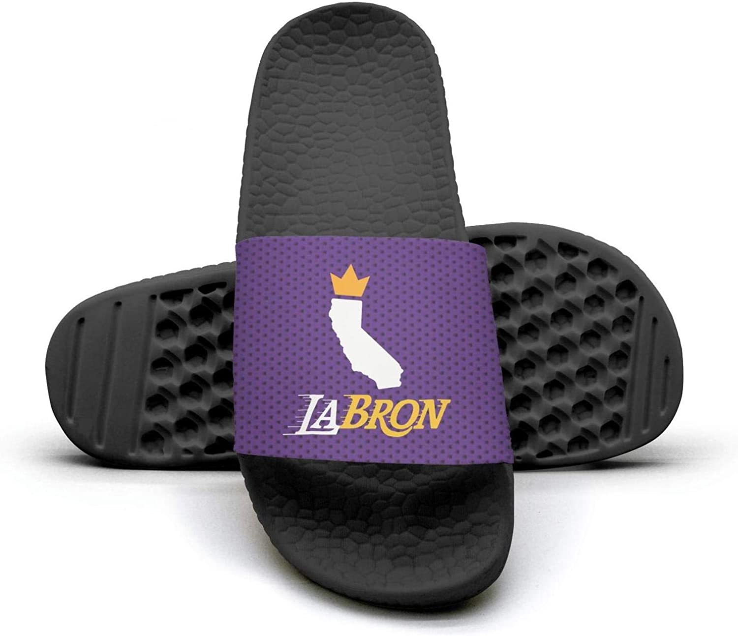ADIDII Womens Printed Non-Slip Slippers Slides flip Flop Sandals La_Bron_Yellow_Logo_Basketball Summer Soft