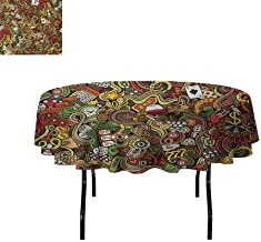 Casino Leakproof Polyester Tablecloth Doodles Style Artwork of Bingo and Cards Excitement Checkers King Tambourine Vegas Outdoor and Indoor use D51 Inch Multicolor