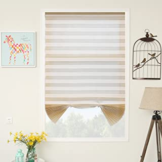 SUNFREE 3 Pack Beige Temporary Blinds Pleated Window Shades Cordless Blinds Room Darkening Fabric Shade Easy to Cut and Install,36
