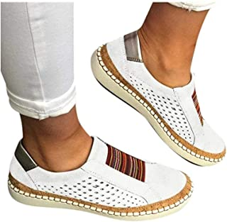 Women's Casual Shoes Slip On Outdoor Sneakers Fashion Comfy Flat Shoes Hollow-Out Round Toe Board Shoes