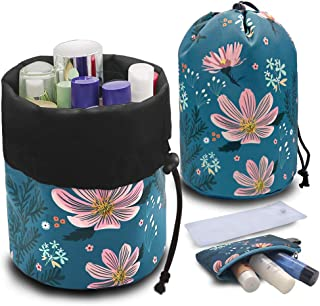 UYRIE Portable Makeup Toiletry Cosmetic Travel Organizer Bag, Large Drawstring Hanging Packing Bag for Women Girl Men, Lightweight Multifunctional Barrel Shaped Storage Bag (Pink Flower)