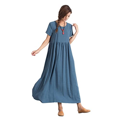 816607040cb Sellse Women's Linen Loose Summer Casual Large Size Long Dress Cotton  Clothing
