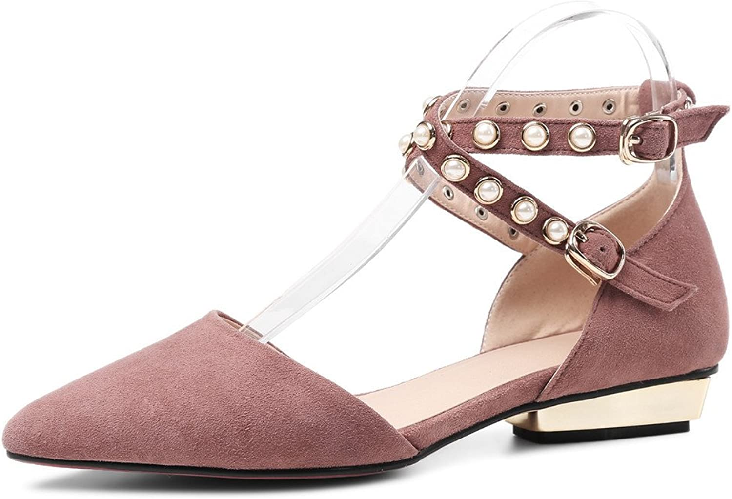 Nine Seven Suede Leather Women's Pointy Toe Buckles Elegant Handmade Dress Flats shoes
