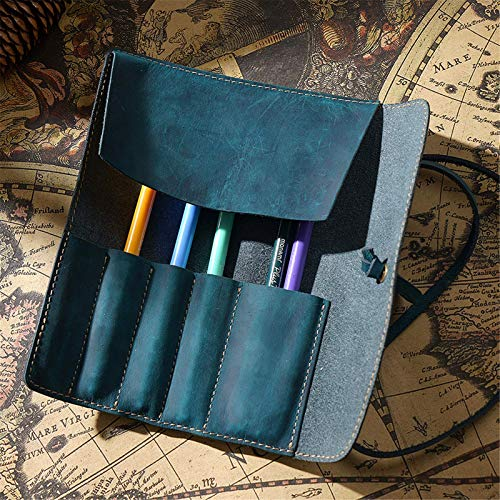 WULOVEMI Cajas de lápiz Cosas Vintage de Cuero Genuino Papelería de Cuero Hecho a Mano Lápiz Rollo de la Caja Unisex para Estudiantes jóvenes (Color: Marrón, Tamaño: 20.2x19cm)