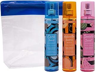 Flor de Mayo Set 3 Aguas Frescas Perfumadas Fruity con Neceser para playa de Regalo. Body Splash con aroma a Coco Beach ...