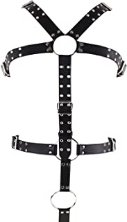 Mens Leather Harness Men Chest Women Leather Body Chest Half Harness Adjustable Black