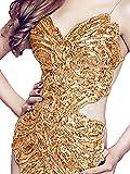 Gold Latin Frauen tanzen ausgefallene Pailletten rückenfreie Ballroom Star Show Kleid Top (kein Rock) für Tango Samba Rumba Damen Outfit (Gold)