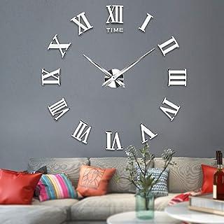 VANGOLD Large 3D DIY Wall Clock Roman Numerals Clock Frameless Mirror Surface Wall..