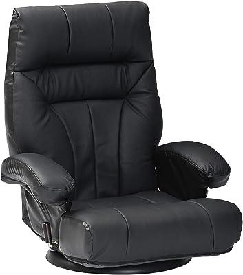 タマリビング(Tamaliving) リクライニングチェア ブラック 回転座椅子 無段階リクライニング 本革 レガンス 50002585