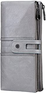 Leather Women's Wallet Leather Casual Long Section Suede Leather Female Clutch Waterproof (Color : Gray, Size : S)