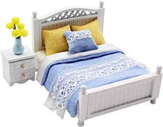 Cool Beans Boutique Miniature Dollhouse Furniture DIY Kit – Blue Double Bed & Night Stand – 1:18 Scale Miniature Furniture 1181030 Double Bed Set 1181030