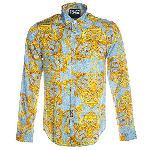 VERSACE JEANS COUTURE Silk Denim Baroque Shirt in Light Blue