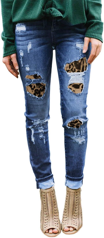 GOSOPIN Women Mid Max 86% San Diego Mall OFF Rise Distressed Stretchy Skinny Denim Pa Jeans