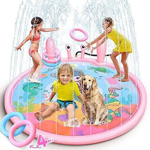 LETOMY Splash Pad, 170cm Tappetino Gioco d'Acqua con 2 Parti a Spruzzo per Bambini, A Formadi Granchio Gioco di Spruzzi d'Acqua Tappetinocon Tossing Ring Game Tappetino per Irrigatore a Tema Sirena