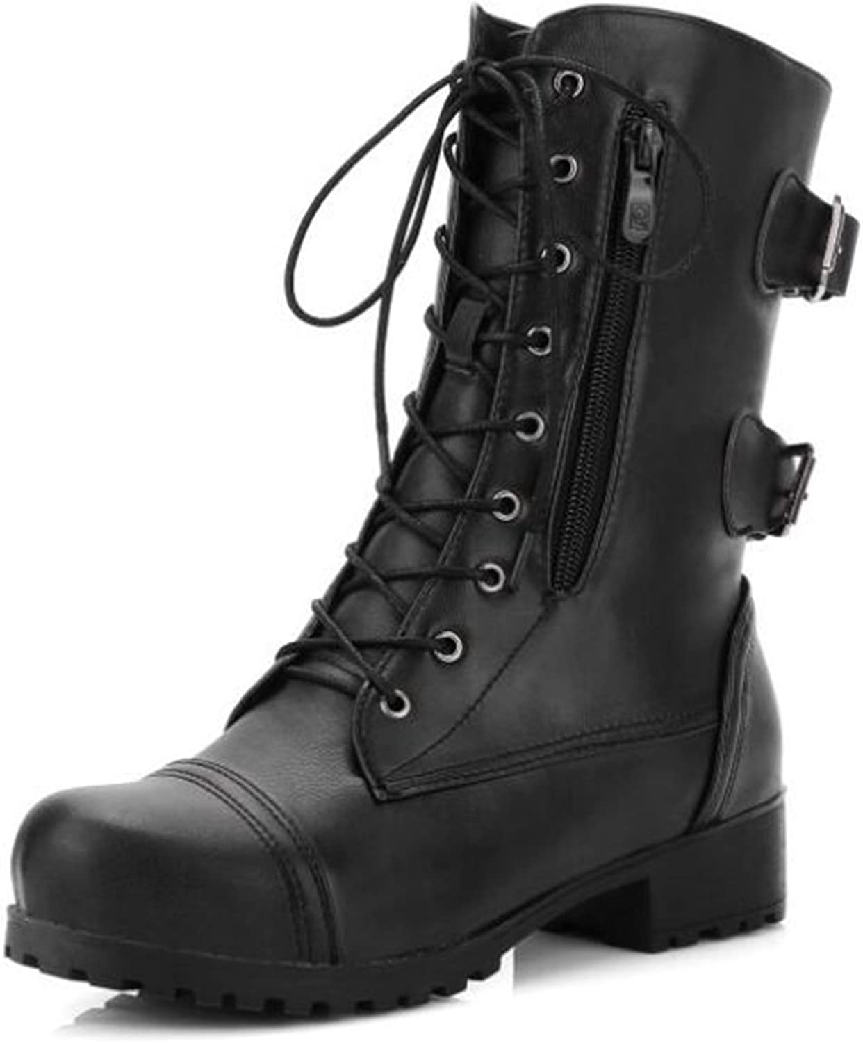 IDIFU Women's Unique Round Toe Low Chunky Heels Lace Up Side Zipper Combat Mid Calf Boots