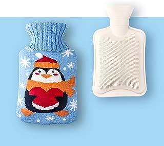 ACHICOO 湯たんぽ 1000ml お湯バッグ ハンドハンマー+カバーセット クリスマスパターン かわいい ポータブル 冬 ニットブルーペンギン 中1000ml(25x15cm)