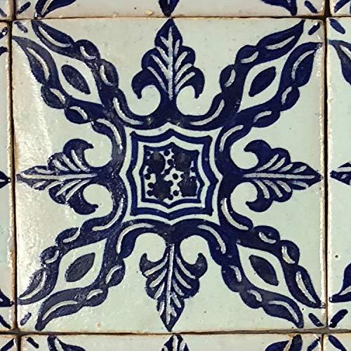 Casa Moro marokkanische Keramikfliese Emin 10x10 cm blau weiß handbemalte orientalische Fliese Kunsthandwerk aus Marokko Wandfliese für schöne Küche Dusche Badezimmer | HBF8300