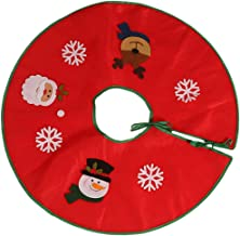 TOYMYTOY Red Christmas Tree Skirt Xmas Tree Aprons Holiday Tree Rug Carpet Santa Snowman Elk Snowflake Decor for Seasonal ...