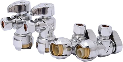 SharkBite 23036LFA4 Angle Stop, 1/2 inch x 3/8 inch, Compression Fitting, Water Valve Shut Off, Push-to-Connect, PEX, Copper, CPVC, PE-RT, Pack of 4