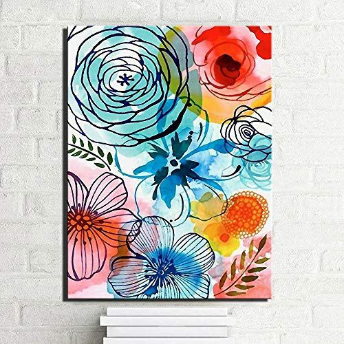 ganlanshu Rahmenlose MalereiFarbiges modernes Wohnkulturblumenbild der abstrakten Aquarellblume auf Leinwand20X30cm