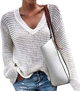 Women's Shirts V Neck Loose Long Sleeve Casual Solid Tunic Jumper Tops