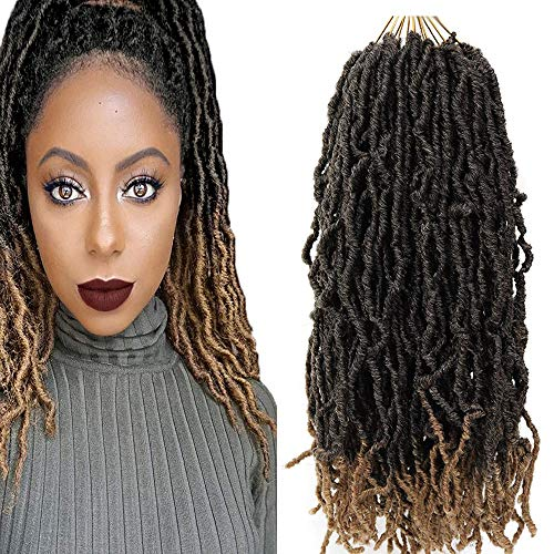 FASHION BINGO Locs Crochet Hair 6 Bundles Faux Locs Crochet Hair Synthetic Natural Wavy 18 Inch Goddess Locs Crochet Dreadlock Extensions Hair Twist Braids(T27)