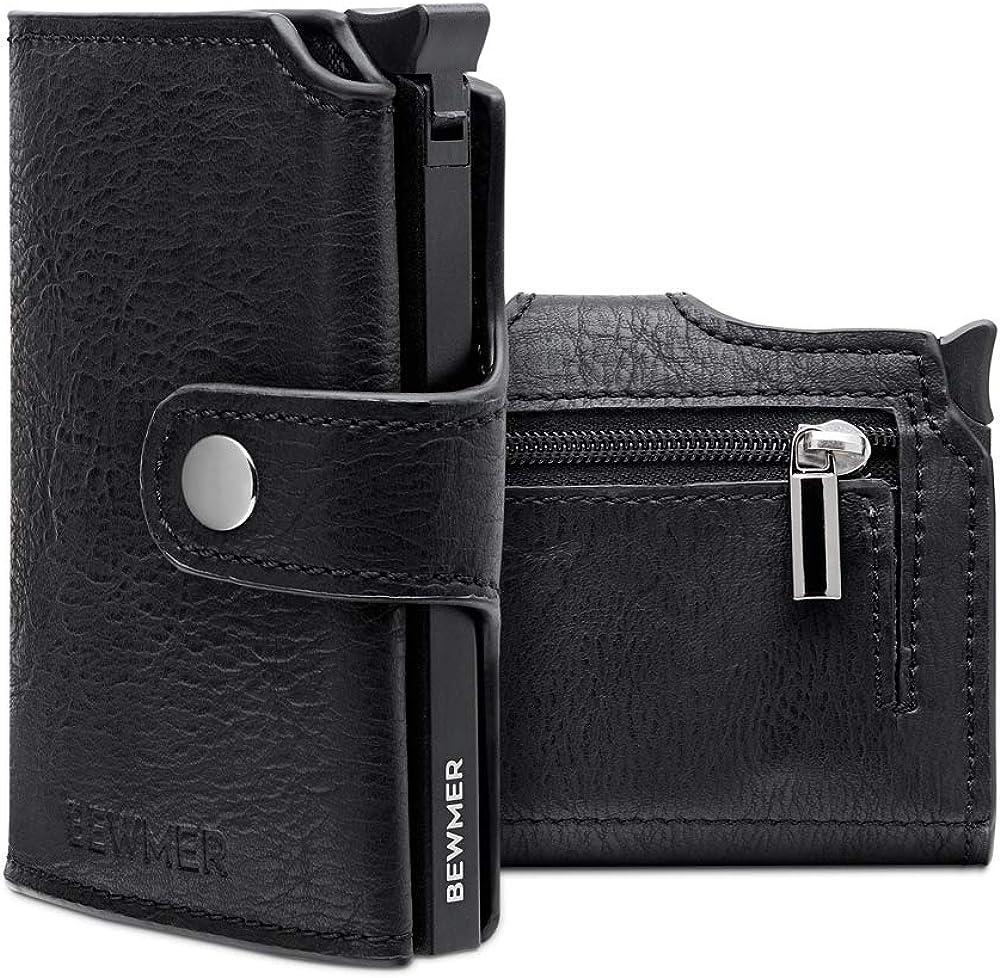 Portafoglio e portacarte di credito slim unisex con protezione rfid schermato anticlonazione in ecopelle nera