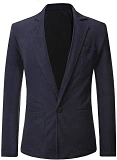 Men's Blazer Slim Fit Casual One Button Suits Coat Solid Blazer Business Jacket Navy,Black,Gray Long Sleeve Suit Goosun Mo...
