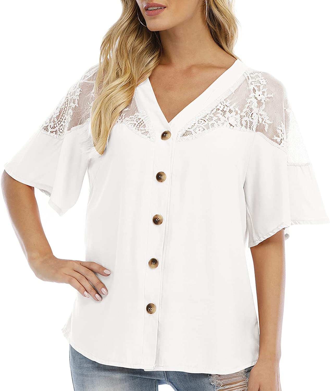 Anbenser Womens Button Down Blouse V Neck Short Sleeve Loose Top Lace Shirts