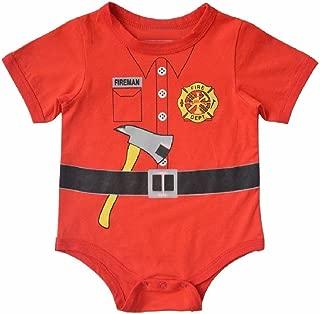 Hooyi Baby Boy's Fireman Bodysuit Short Sleeve Romper S70(0-6Month) Red