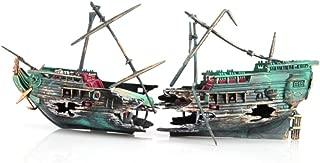 KAYI Broken Sink Half Boat Treasure Ship Aquarium Decoration Bubble Decor