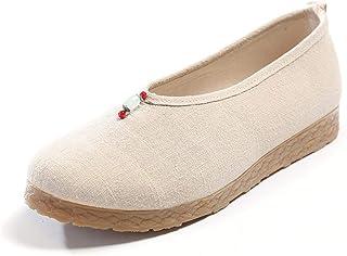 Lihcao Old Beijing Zapatos de tela Shishi retro étnico arte arte maestro Zen trabajo femenino bordado zapatos (color: beig...