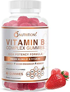 O Nutritions Vitamin B Complex Vegan Gummies with Vitamin B12, B7 as Biotin , B6, B3 as Niacin, B5, B6, B8, B9 as Folate f...