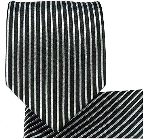 Cravate homme noir argenté rayée ensemble de cravate 3 Pièces (longueur 165cm)