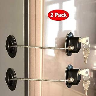 Refrigerator Door Locks(2-Pack Black),Mini Fridge Lock, File Cabinet Lock, Drawer Lock, Lock for Cabinet, Child Safety Lock Refrigerator Door Lock