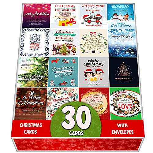 Packung mit 30 sortierten Weihnachtskarten Grußkarten - Große Auswahl - Entworfen mit einer schönen Mischung aus Zitaten zur Weihnachtszeit - Ideale Geschenke für die Weihnachtszeit
