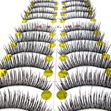 ReNext 10 Pairs Fashion Fake Long Eyelashes Natural Look - Human Hair Reusable False Black Eyelashes