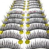 ReNext 10 Pairs Fashion Fake Long Eyelashes Natural Look - Human Hair Reusable False Black Eyelashes