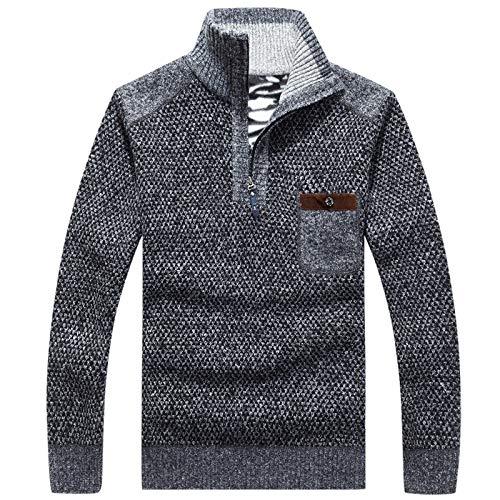 Jersey de Punto con Costuras de Cremallera de Cuello Alto para Hombre Color de Moda a Juego Slim Fit Otoño e Invierno Jersey Grueso y cálido M