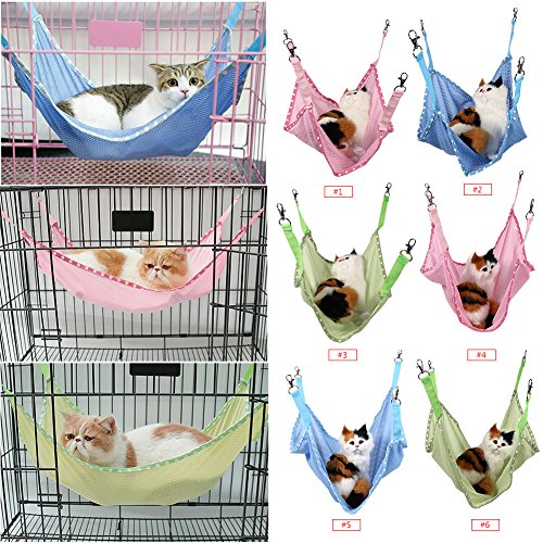 Yosoo Cat Cage Hammock, Comfortable Pet Hanging Bed Breathable Mesh, for Cute Small Pet Cat Dog Animals Sleep Pad (L, Blue)