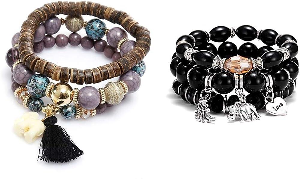 Fashion Multi Layer Colorful Wood Beads Strand Bracelets Set Birthstone Yoga Chain Stretch Beach Bangle Boho Small Elephant Charm Tassel Stackable Bracelets Set for Women Vintage Style Jewelry