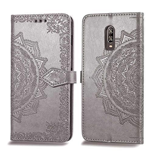 Bear Village Hülle für OnePlus 6T, PU Lederhülle Handyhülle für OnePlus 6T, Brieftasche Kratzfestes Magnet Handytasche mit Kartenfach, Grau