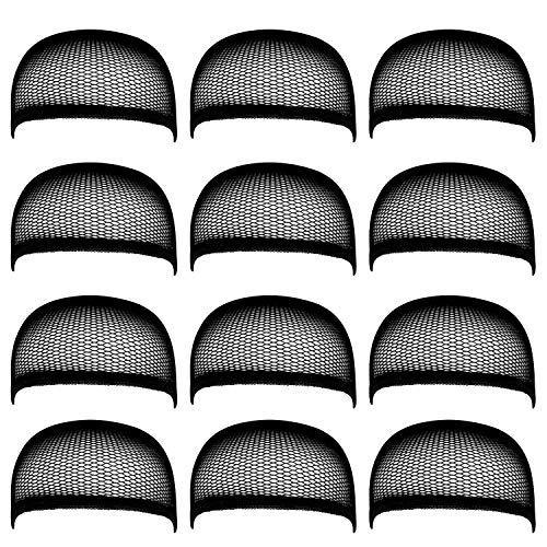 DILISEN Pack of 12 Wig Cap Open End Mesh Net Liner Weaving Cap (Black) (Black)