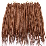 7 Packs Box Braids Crochet Braids Hair Extensions 18 Inches 12 Strands/Pack Flame Retardant Synthetic Hair(Medium Aubum,#30)