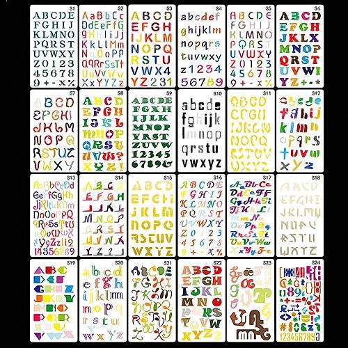 ABC Schablonen, 24 Stück Schablone Buchstaben Alphabet Zahlen, Zeichenschablonen Malschablonen Kinder, Schriftschablone Kunststoff,für Bullet Journals Scrapbooking Malerei Zeichnen