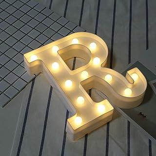 DIY 3Dアルファベット文字ライトLEDナイトライト、26アルファベット0-9数字マーキーサインナイトランプホームパーティーバーウェディングフェスティバル誕生日装飾ギフト。 文字 R 22.5CM