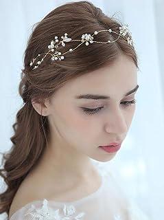 FXmimior - Tiara per capelli da sposa, con perle, dorata, accessorio per capelli da sposa, accessorio per capelli (oro)