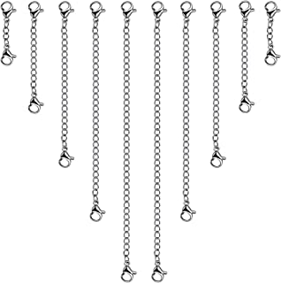 """10pcs Necklace Extender, YGDZ Stainless Steel Necklace Bracelet Chain Extender with Lobster Clasps for Jewelry Making, 5 Sizes(1"""" 2"""" 3"""" 4"""" 5"""") (Silver Color)"""