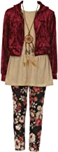 Big Girls Burgundy 4 Pieces Pant Set Long Sleeve Jacket Necklace Floral Plaid Pant #2099 Size 12